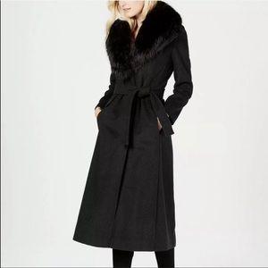 Calvin Klein Black Belted Faux Fur Collar Coat 0